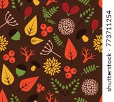 seamless pattern with autumn... | Shutterstock .eps vector #773711254