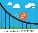 bitcoin coin on roller coaster | Shutterstock .eps vector #773711308