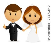 Vector illustration. Cute cartoon wedding couple holding hand - stock vector