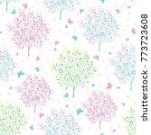 vector pastel spring blossoming ... | Shutterstock .eps vector #773723608