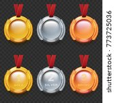 set of gold silver and bronze... | Shutterstock .eps vector #773725036
