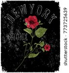 new york typography with floral ... | Shutterstock .eps vector #773725639