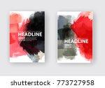 black red ink brush stroke on... | Shutterstock .eps vector #773727958