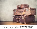 Stock photo vintage old classic travel leather suitcases circa s travel luggage concept retro instagram 773729206