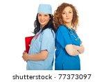 smiling two doctors women... | Shutterstock . vector #77373097