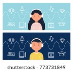 students learning through... | Shutterstock .eps vector #773731849