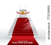 Vector Stairs with red velvet carpet. - stock vector