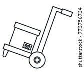 carton box in handle cart | Shutterstock .eps vector #773756734
