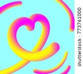 plastic colorful heart on blue... | Shutterstock .eps vector #773761000