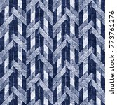 Stock photo abstract herringbone motif in white and indigo shades seamless pattern 773761276
