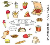 hand drawn doodle fast food... | Shutterstock .eps vector #773774218