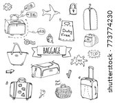 hand drawn doodle baggage icons ... | Shutterstock .eps vector #773774230