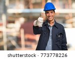 smiling worker in a... | Shutterstock . vector #773778226