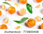 ripe orange tangerine  mandarin ... | Shutterstock . vector #773800408
