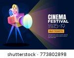 Vector Glowing Neon Cinema...