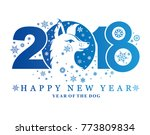 blue dog pattern 2018.... | Shutterstock .eps vector #773809834