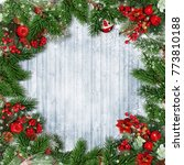 christmas decorations with... | Shutterstock . vector #773810188
