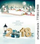 holiday christmas background... | Shutterstock .eps vector #773811988