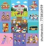 children doing different... | Shutterstock .eps vector #773816959