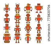 robot cartoon icons orange... | Shutterstock .eps vector #773820706