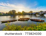 richmond park river with boats...   Shutterstock . vector #773824330