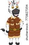 cute zebra cartoon posing with... | Shutterstock .eps vector #773827354
