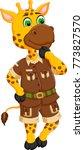 cute giraffe cartoon standing... | Shutterstock .eps vector #773827570