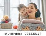 winter portrait of happy loving ... | Shutterstock . vector #773830114