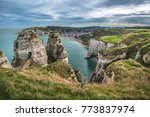 white cliffs of etretat and the ... | Shutterstock . vector #773837974