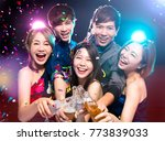 young group enjoying party and... | Shutterstock . vector #773839033