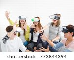young group having fun with new ... | Shutterstock . vector #773844394