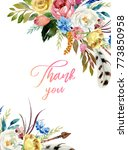 watercolor floral boho header   ... | Shutterstock . vector #773850958