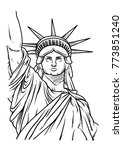 the statue of liberty hand... | Shutterstock .eps vector #773851240