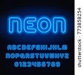 neon tube alphabet font. blue... | Shutterstock .eps vector #773858254