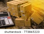 pile of cardboard boxes... | Shutterstock . vector #773865223
