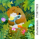 bear reading book to cub. good... | Shutterstock .eps vector #773877823