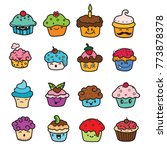 delicious cupcakes and vector... | Shutterstock .eps vector #773878378