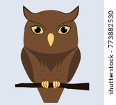 cute brown owl sitting on a...   Shutterstock .eps vector #773882530