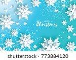 blue merry christmas greetings... | Shutterstock . vector #773884120