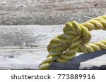 rope knot on wood background.... | Shutterstock . vector #773889916