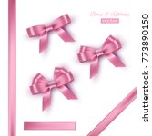 pink bows and ribbons. vector... | Shutterstock .eps vector #773890150