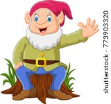cartoon happy dwarf sitting on... | Shutterstock .eps vector #773903320