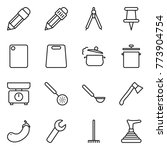 thin line icon set   pencil ... | Shutterstock .eps vector #773904754