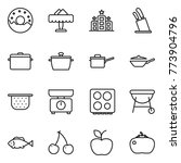 thin line icon set   donut ... | Shutterstock .eps vector #773904796