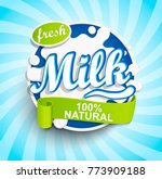 fresh and natural milk label... | Shutterstock .eps vector #773909188
