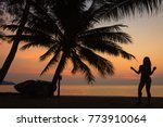 silhouette of a young beautiful ... | Shutterstock . vector #773910064