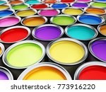 multi colored paint cans... | Shutterstock . vector #773916220