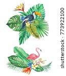 tropical leaves  branch  flower ... | Shutterstock . vector #773922100