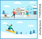 snowboarder doing winter sport... | Shutterstock .eps vector #773929318