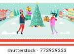 man and woman on christmas... | Shutterstock .eps vector #773929333